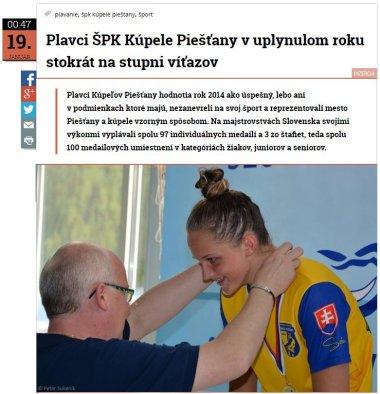 20150119 Plavci ŠPK Kúpele Piešťany v uplynulom roku stokrát na stupni víťazov_380